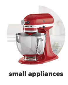 A red mixer with a mixing bowl. Shop small appliances