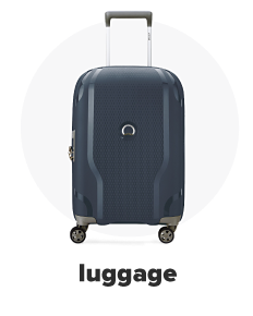 A blue rolling suitcase. Luggage.
