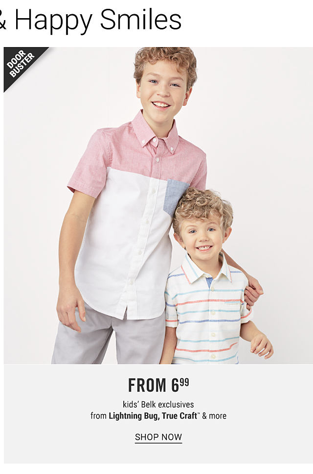 A boy wearing a coral, light blue & white colorblock short sleeved button front shirt & gray pants standing next to a boy wearing a white polo with coral & light blue horizontal stripes. Doorbuster. From $6.99 kids Belk exclusives from Lightning Bug, True Craft & more. Shop now.