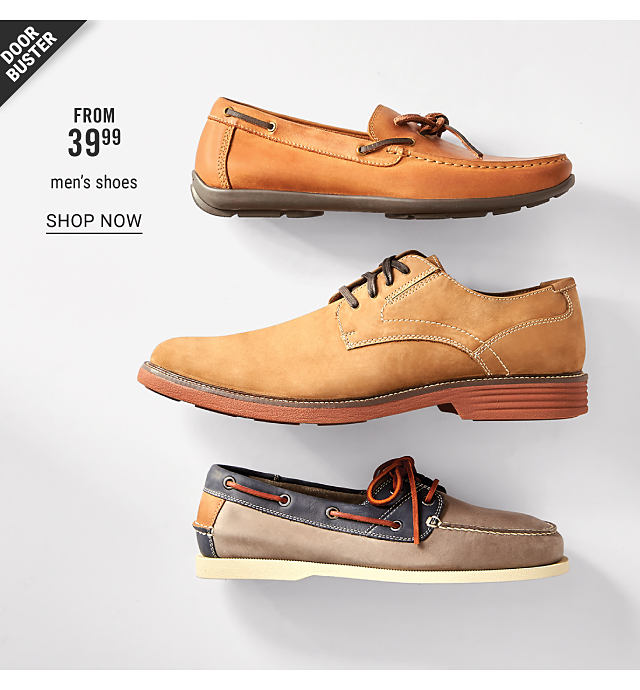 An assortment of mens shoes in a variety of colors & styles. Doorbuster. From $39.99 men's shoes. Shop now.
