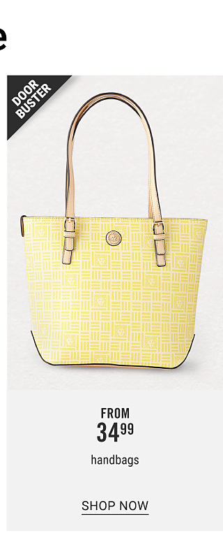 A light yellow leather bucket tote handbag with brown leather handles. Doorbuster. From $34.99 handbags. Shop now.