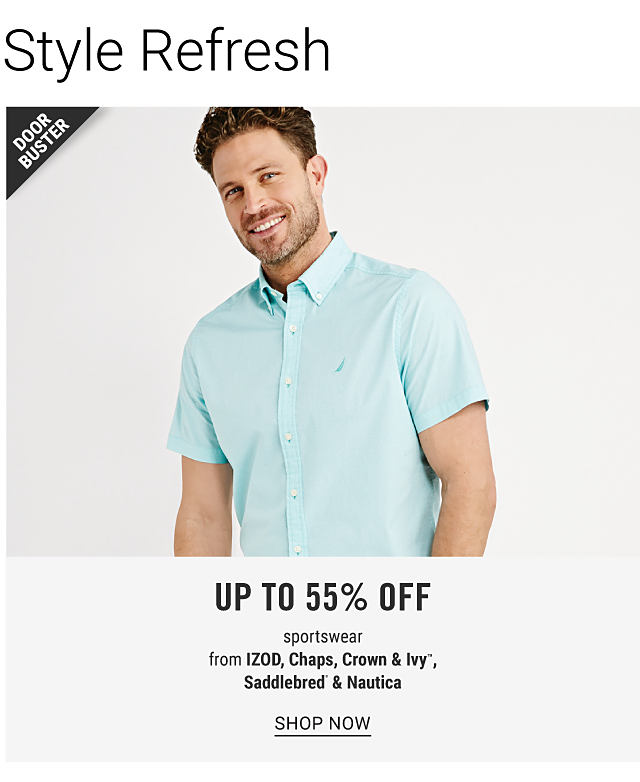 A man wearing a light blue short sleeved button front shirt. Up to 55% off sportswear from Izod, Chaps, Crown & Ivy, Saddlebred & Nautica. Shop now.