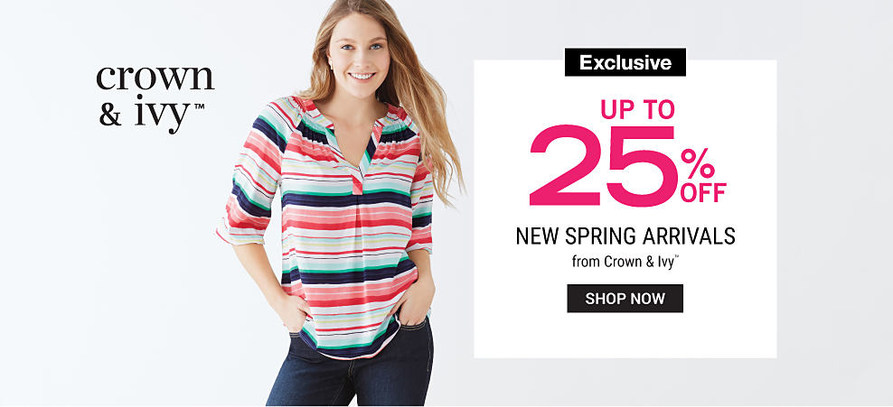A woman wearing a multi-colored horizontal striped short sleeved top & blue jeans. Up to 25% off New Spring Arrivals from Crown & Ivy. Exclusively at Belk. Shop now.