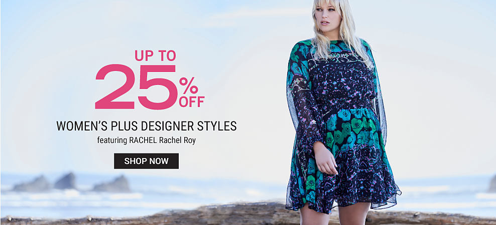 A woman wearing a multi-colored floral print long sleeved dress. Up to 25% women's plus designer styles featuring RACHEL Rachel Roy. Shop now.