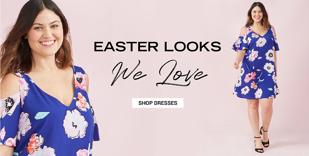 A woman in a short, floral print dress with short, cold shoulder sleeves and black high heeled sandals. Easter looks we love. Shop dresses.