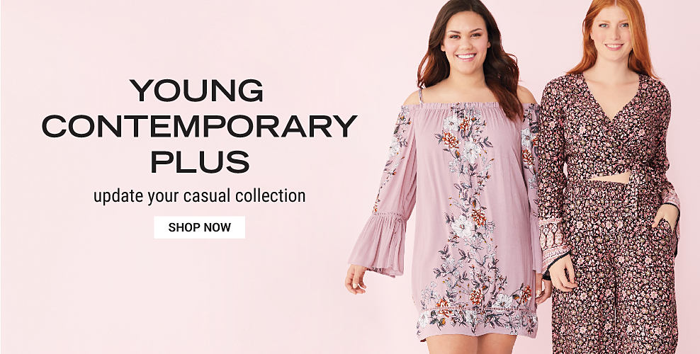A girl in a short, light pink, vintage style dress with floral embroidery and long bell sleeves with cold shoulders. Another girl in a two piece floral outfit with a cropped, long sleeve top and wide leg pants. Young contemporary plus. Update your casual collection. Shop now.