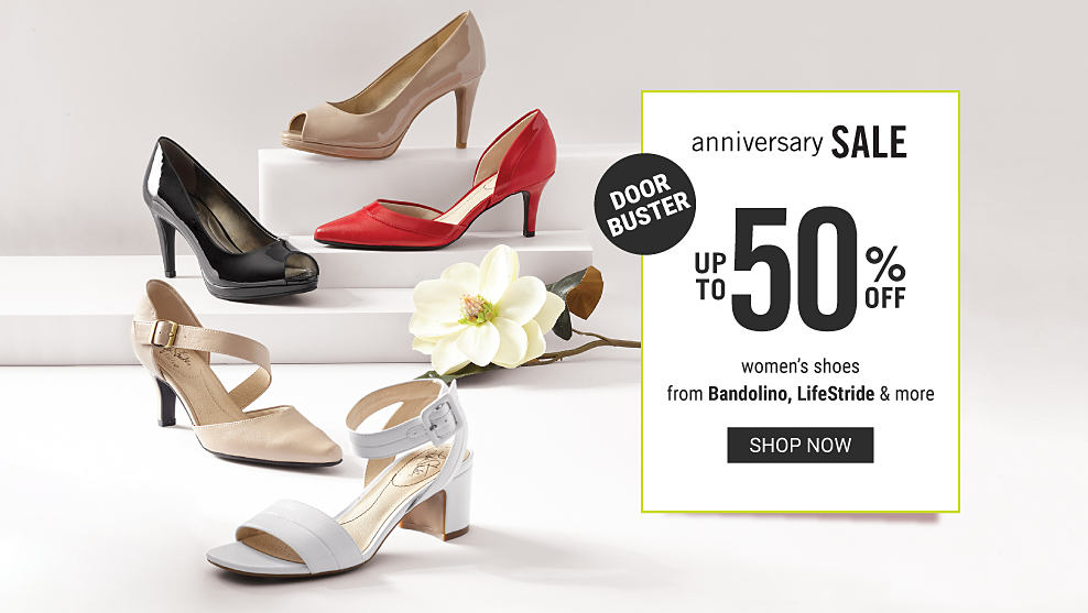 An assortment of women s shoes in a variety of colors   styles. Anniversary  Sale. d89ec5abfc7
