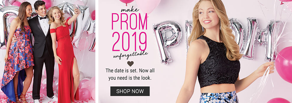 A young woman wearing a multi colored floral print sleeveless dress standing next to a young man wearing a black tuxedo, white shirt, black tie & white sneakers & a young woman wearing a red cold shoulder dress. A young woman wearing a black lace detailed top & a multi colored floral print skirt. Make Prom 2019 Unforgettable. The date is set. Now all you need is the look. Shop now.