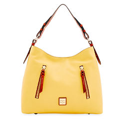 A yellow pebbled leather handbag with brown leather fringe & trim. Shop pebble leather collection.