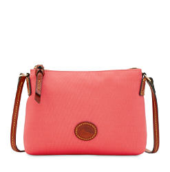 A coral leather handbag with brown leather trim. Shop crossbody bags.