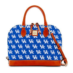 A blue & white University of Kentucky team logo print gameday handbag with brown leather trim. Shop team collection.