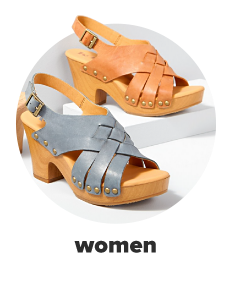 Two women's sandals featuring wooden soles, chunky heels and leather straps in gray and tan. Women.