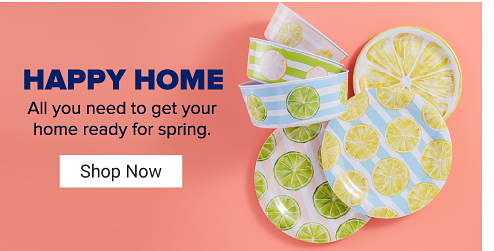 Plates and bowls with stripes in various colors and patterned with different fruit slices on them. Happy home. All you need to get your home ready for spring. Shop now.