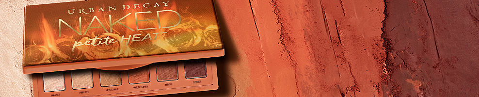 An Urban Decay Naked Petite Heat mekup palette. This is one hot little palette. Urban Decay's Naked Petite Heat si a compact eye shadow palette featuring 6 all new all matte scorched neutral shades inspired by U D's own Naked Heat. Create warm eye shadow looks that range from soft and sultry to flat out fire. Shop now.