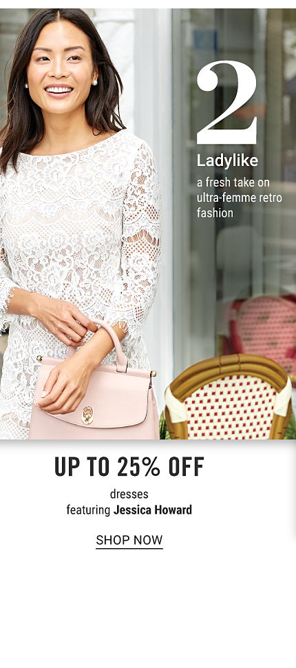 A woman wearing a white long sleeved lace detailed dress & light pink leather handbag. Trend 2. Ladylike. A fresh take on ultra femme retro fashion. Up to 25% off dresses featuring Jessica Howard. Shop now.