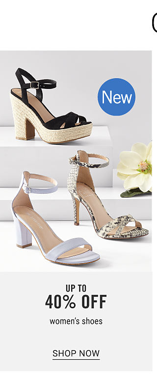 Complete the Look & Save. An assortment of women's shoes in a variety of colors & styles. New. Up to 40% off women's shoes. Shop now.