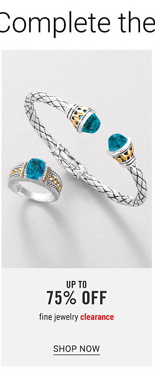 A silver, gold & blue diamond ring & a silver, gold & blue diamond bracelet. Fine Jewelry Clearance. Up to 75% off. Shop now.