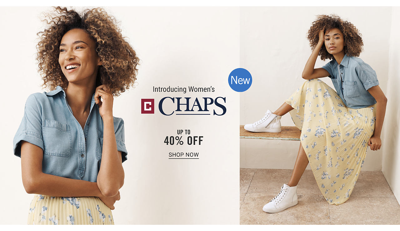 A woman wearing a denim blue short sleeved button front shirt & a light yellow, light blue & white floral print skirt & white sneakers. New. Introducing women's Chaps. Up to 40% off. Shop now.