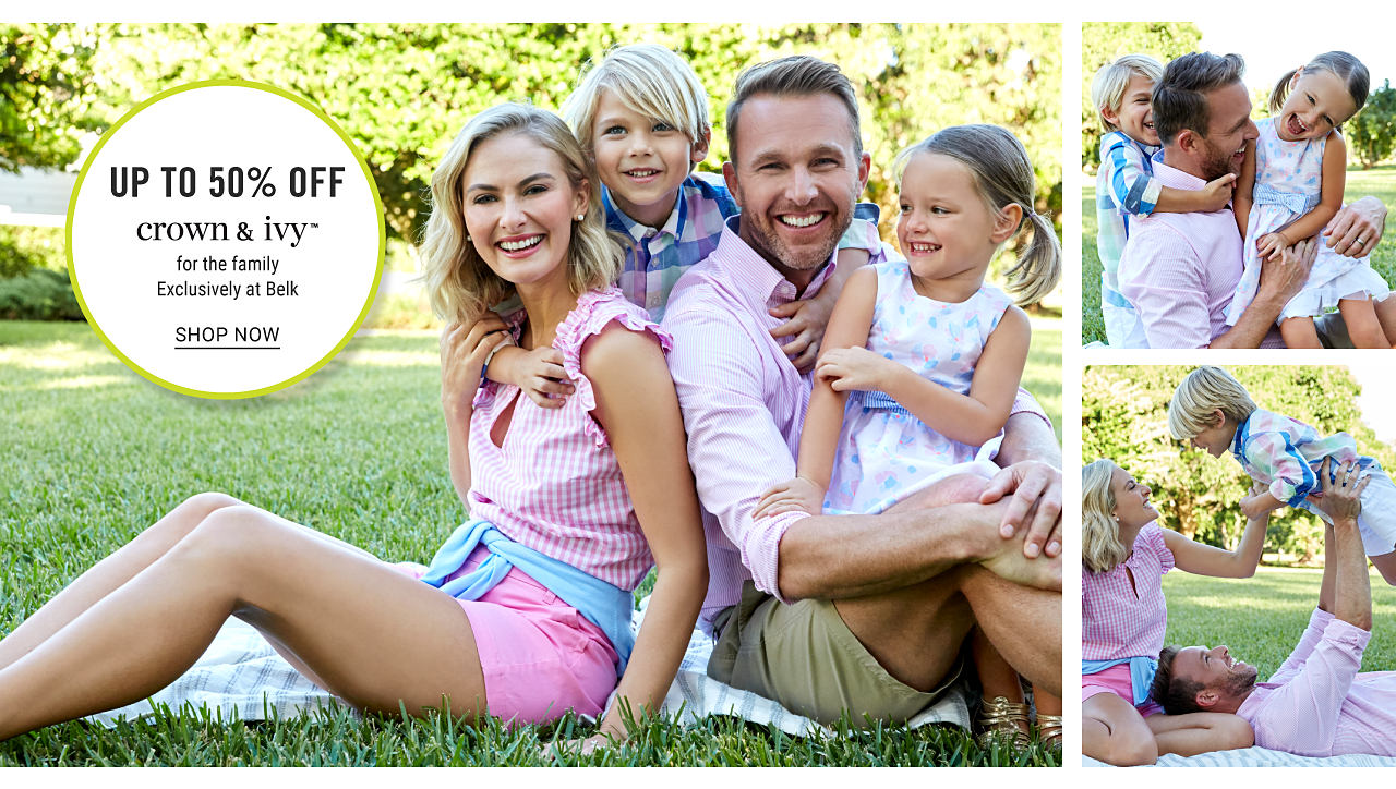 A woman wearing a pink & white gingham sleeveless button front top & pink shorts sitting next to a boy wearing a multi colored plaid button front shirt, a man wearing a light pink long sleeved button front shirt, olive green shorts & a girl wearing a multi pastel colored print sleeveless dress. Up to 50% off Crown & Ivy for the family. Exclusively at Belk. Shop now.