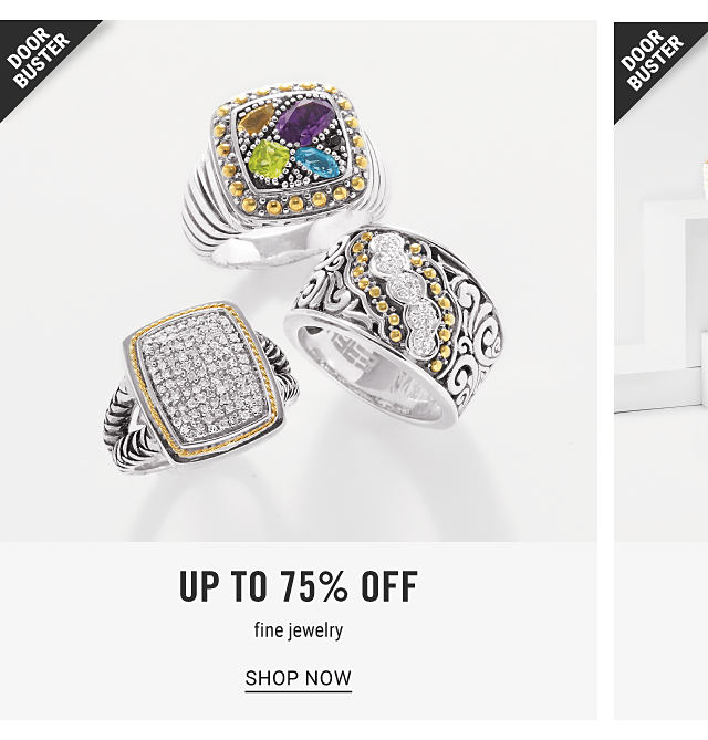 An assortment of silver, gold. diamond & multi colored diamond rings. Doorbuster. Up to 75% off fine jewelry. Shop now