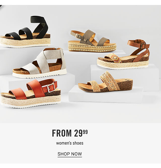 An assortment of women's flat sandals in a variety of colors & styles. Doorbuster. From $29.99 women's shoes. Shop now