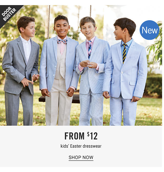 Four boys wearing different colors & styles of suits, dress shirts & ties. Doorbuster. New. From $12 kids Easter dresswear. Shop now.