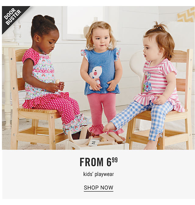 A girl wearing a multi colored print short sleeved top & fuchsia pants with white dot print sitting next to a girl wearing adenim blue sleeveless top with a white & coral front graphic & coral pants & a girl wearing a coral & white horizontal striped short sleeved top & light blue & white gingham pants. Doorbuster. From $6.99 kids playwear. Shop now.