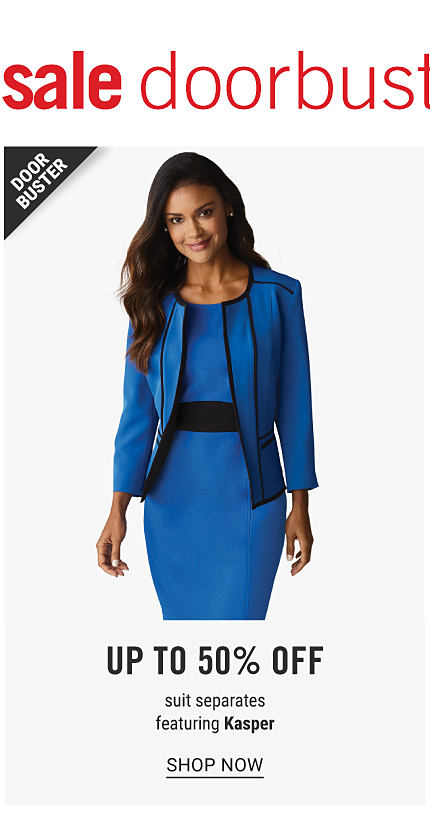 A woman wearing a blue dress with a black belt & a blue blazer with black trim. Doorbuster. Up to 50% off suit separates featuring Kasper. Shop now.