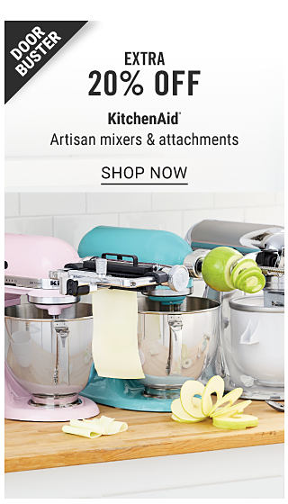 Three different colored Kitchenaid mixers, each with a different attachment. Doorbuster. Extra 20% off Kitchenaid Artisan mixers & attachments. Shop now.