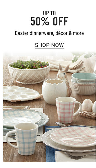 A table set with pastel patterned place settings. Up to 50% off Easter dinnerware, decor & more. Shop now.