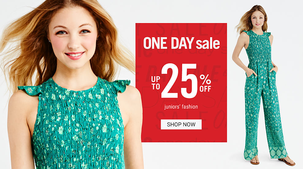 A young woman wearing a teal light green & black floral print sleeveless jumper. One Day Sale. Up to 25% off juniors fashion. Shop now.