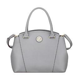 A gray leather handbag. Shop handbags.