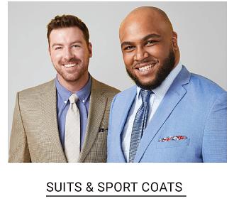 A man in a beige sport coat, a blue dress shirt and a yellow tie. A man in a light blue sport coat, a white dress shirt and a blue tie. Shop suits and sport coats.