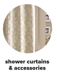 An off white showeer curtain with a hexagonal pattern. Shower curtains and accessories.