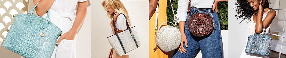A woman wearing a white dress carrying a teal croco leather handbag. A woman wearing a white dress carrying a white tote. A woman wearing a yellow dress carrying a white croco leather handbag. A woman wearing a white blouse & blue jeans carrying a brown croco leather handbags. A woman wearing a white dress carrying a blue & gray snakeskin handbag. Brahmin. Make an unforgettable first impression this season. Check out our spring trends.