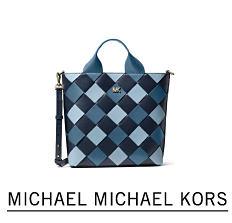 A blue & black leather plaid tote. Shop Michael Michael Kors.