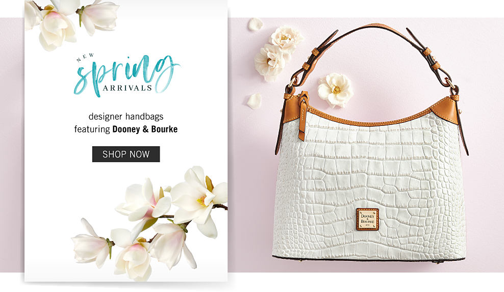 A white croco leather handbag with brown leather handle & trim. New Spring Arrivals. Designer handbags featuring Dooney & Bourke. Shop now.
