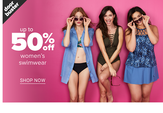 A woman in a colorful bikini top, black bikini bottoms, a long blue button down shirt and pink rimmed sunglasses. A woman in a black one piece swimsuit with a lace-up front and black sunglasses. A woman in a blue skirted one piece swimsuit with a lace neckline and blue rimmed sunglasses. Doorbuster. Up to 50 percent off women's swimwear. Shop now.