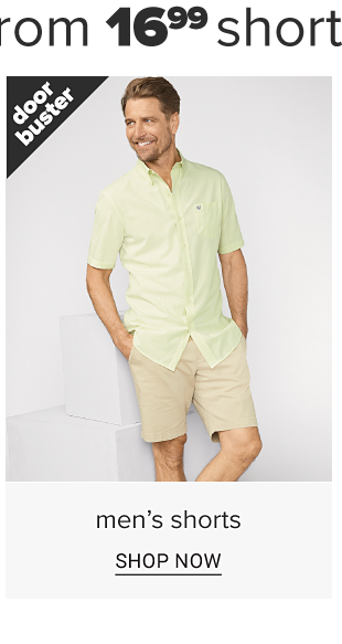 A man in a pale green and khaki shorts. Doorbuster. Men' shorts. Shop now.