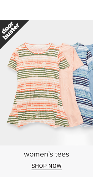 An assortment of women's tee shirts that flare out at the bottom in a variety of colors and designs. Doorbuster. Women's tees. Shop now.