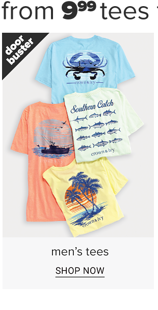 An assortment of men's graphic tees in a variety of designs and bright colors. Doorbuster. Men's tees. Shop now.