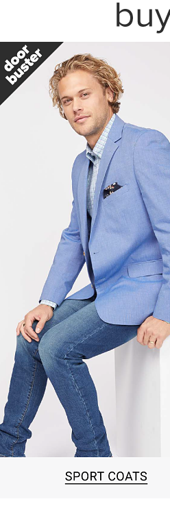 Buy 1, get 1 free men's essentials. A man in a light blue sport coat, a striped white and light blue button down shirt and blue jeans. Shop sport coats.