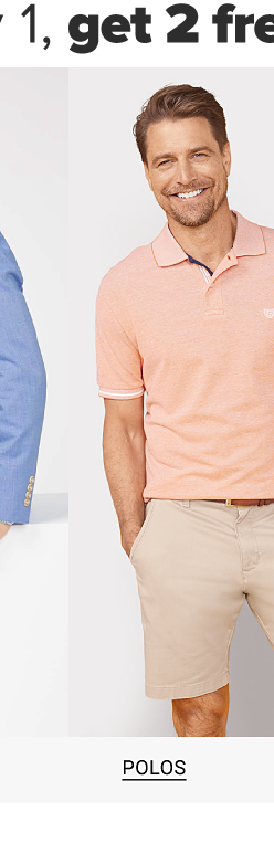 Buy 1, get 1 free men's essentials. A man in a coral polo shirt and khaki shorts. Shop polos.