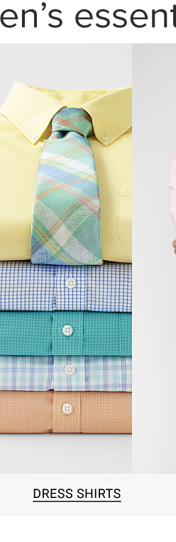 Buy 1, get 1 free men's essentials. A stack of dress shirts in a variety of bright colors and designs. Shop dress shirts.