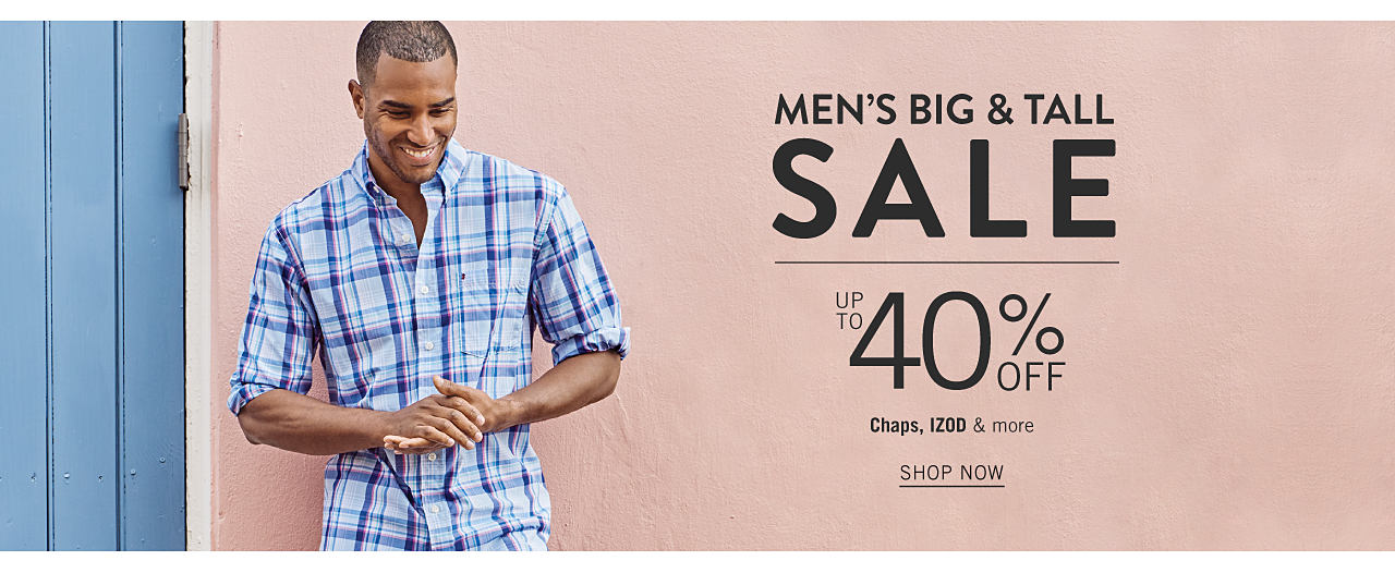 A man wearing a blue & white plaid long sleeved button front shirt. Big & Tall Sale. Up to 40% off Chaps, Izod & more. Shop now.
