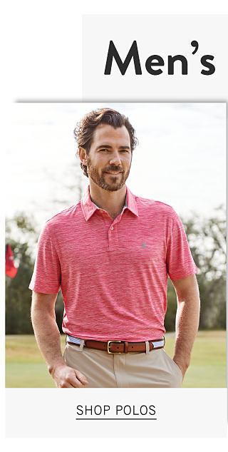 Men's Semi Annual Sale. Up to 40% off polos, shorts, swimwear & denim. A man wearing a pink polo & beige pants. Shop polos.