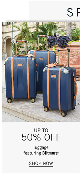 Spring Home Savings. 3 navy wheeled suitcases with brown trim. Up to 50% off luggage featuring Biltmore. Shop now.