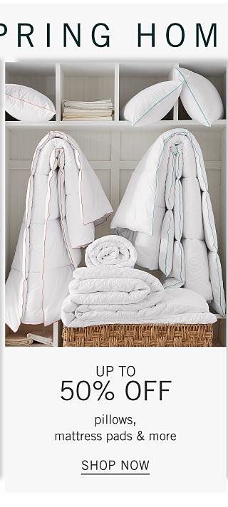 An assortment of white pillows, sheets & mattress pads. Up to 50% off pillows, mattress pads & more. Shop now.