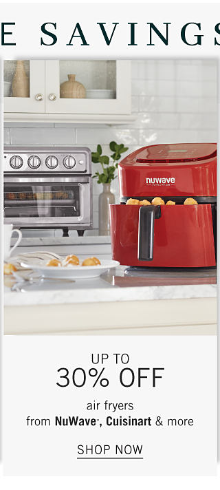 A red air fryer next to a toaster oven. Up to 30% off air fryers from Nu Wave, Cuisinart & more. Shop now.