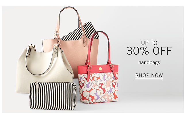 An assortment of handbags in a variety of colors, prints & styles. Up to 30% off handbags. Shop now.